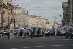 The police transfers protections for meeting through Tverskaya Street in Moscow Stock Photos