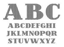 Police tricotée, gris, alphabet anglais, vecteur Image libre de droits