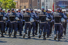 Police troops from the Rome in formation Stock Photo