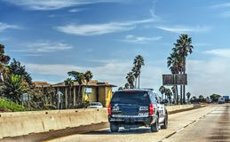 Police truck on 101 freeway southbound. California Stock Photos