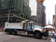 Police Truck Protecting People at a Street Fair, NYC, NY, USA royalty free stock photography