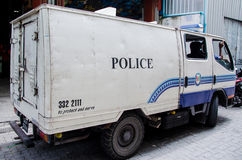 Police truck on street at Male. Maldives Royalty Free Stock Photos