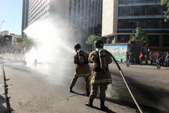 Police truculence is used to contain protests in Rio de Janeiro Royalty Free Stock Photo