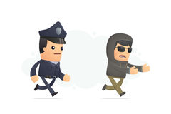 Police trying to catch a criminal Royalty Free Stock Photography