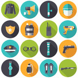 Police uniform and set protection icons on Royalty Free Stock Images