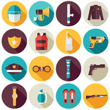 Police uniform and set protection icons on isoleted background. Flat style bright concept. Vector illustration  Stock Photo