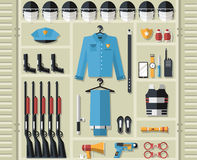 Police uniform and set protection staff equipment Stock Images