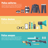 Police uniform and set protection staff equipment Royalty Free Stock Images