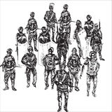 Police unit. Hand drawn black and white sketch of Special response police officers carrying machine guns and special equipment and prepared to respond to any Royalty Free Stock Images