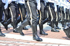 Police unit marching Stock Images