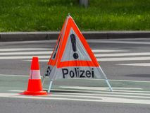Police use. roadblock Stock Photography
