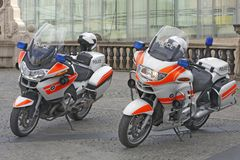 Police used BMW motorcycles in Luxembourg. LUXEMBOURG, LUXEMBOURG - OCTOBER 2: Police used BMW motorcycles in Luxembourg, Luxembourg on October 2, 2014 Royalty Free Stock Photo