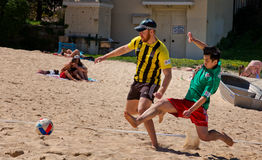 Police v students beach soccer comp Royalty Free Stock Photo
