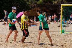 Police v students beach soccer comp Royalty Free Stock Image