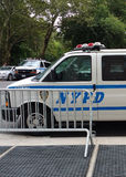 Police Van and Barricade, NYPD, NYC, NY, USA Royalty Free Stock Photography