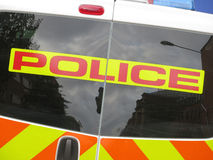 Police van sign Stock Photo