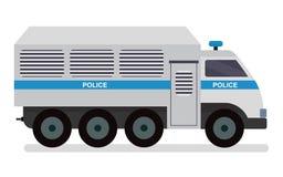 The police van to transport prisoners. Vector cartoon flat design illustration isolated on white background. The police van to transport prisoners. Vector royalty free illustration