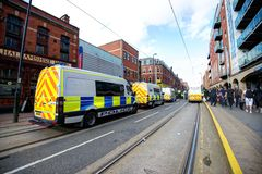 Police vans blocking the road at a protest. June 8, 2013, English Defence League and United Against Fascism protest, Sheffield, UK Stock Photography