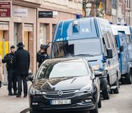 Police vans and officers securing surveilling Christmas Market i stock photography
