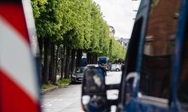 Police vans secruing street during yellow vests protest. Strasbourg, France - Apr 28, 2019: police vans secruing entrance to Rue Rene Schickele after royalty free stock image