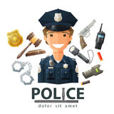 Police vector logo design template. policeman, cop Royalty Free Stock Photography