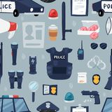 Police vector policy signs of policeman and police car illustration set of or policeofficers bulletproof vest and. Handcuffs in police-office symbols seamless Royalty Free Stock Photography