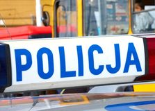 Police vehicle on crime site Stock Photos