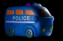 Police vehicle isolated on black Royalty Free Stock Photos