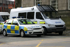 Police Vehicles. At a police station stock photos