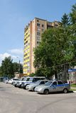 Police vehicles in the suburban town of Khimki. Stock Photography