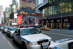 Police vehicles in times square Stock Image