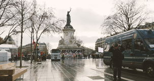 Police verifying identity of journalist in Place de la Republique stock video