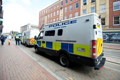 Police video van at a public protest. June 8, 2013, English Defence League and United Against Fascism protest, Sheffield, UK Stock Photography
