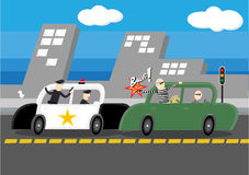 Police vs. Robber. Police chasing Robber on the Road Royalty Free Stock Images