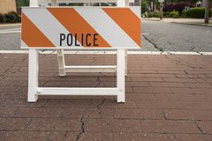 Police warning hazard sign controlled access. To a restricted area royalty free stock images