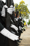 Police wearing white gloves Royalty Free Stock Photography