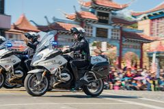 Free Police With Motorbike At The Famous Goldern Dragon Parade At Los Royalty Free Stock Image - 110258846