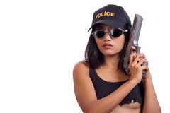 Police woman. Police detective woman with a gun Stock Photo
