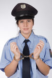 Police woman. Portrait of young czech policewoman in photo studio Stock Image