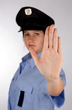 Police woman. Portrait of young czech policewoman in photo studio Royalty Free Stock Image