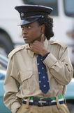 Police woman. ZAMBIA,LUSAKA,Central bus station- 2008,August 4. : Local police woman on patrol on Central bus station in capital of Zambia,Lusaka Stock Image
