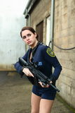 Police woman with assault rifle Royalty Free Stock Images
