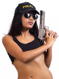 Police woman. With a gun Royalty Free Stock Photo