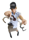 Police woman with handcuffs Stock Photo