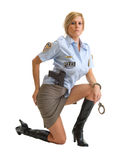 Police woman with handcuffs Royalty Free Stock Photo