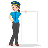 Police Woman Holding White Banner Stock Image