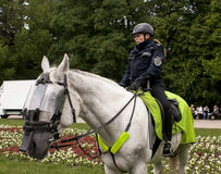 Police woman on horseback. SZCZECIN, POLAND - MAY 29, 2014: Veterans Day in Poland.Redhead Police woman on horseback.Police horse wears a protective shield Royalty Free Stock Images