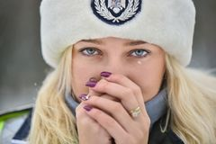 Police Woman In Winter Time Stock Images
