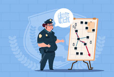 Police Woman Planning Action On White Board Wearing Uniform Female Guard On Blue Bricks Background Royalty Free Stock Image