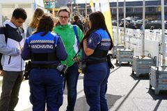 Police women on the street in holland royalty free stock image